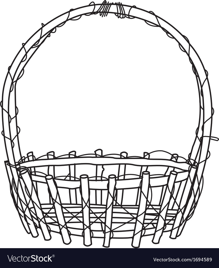 Wicker basket outline vector | Price: 1 Credit (USD $1)