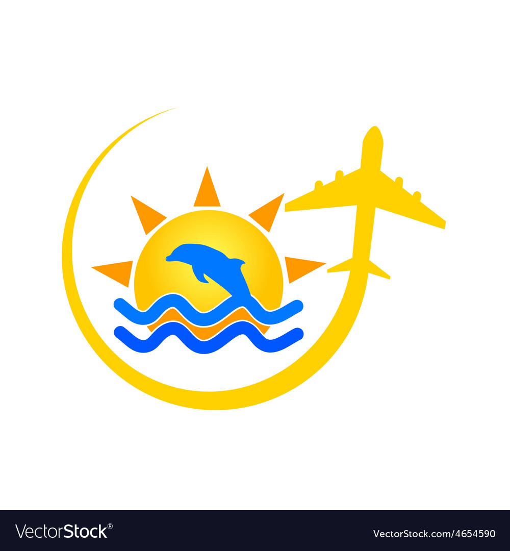 Beach icon with dolphin color vector | Price: 1 Credit (USD $1)