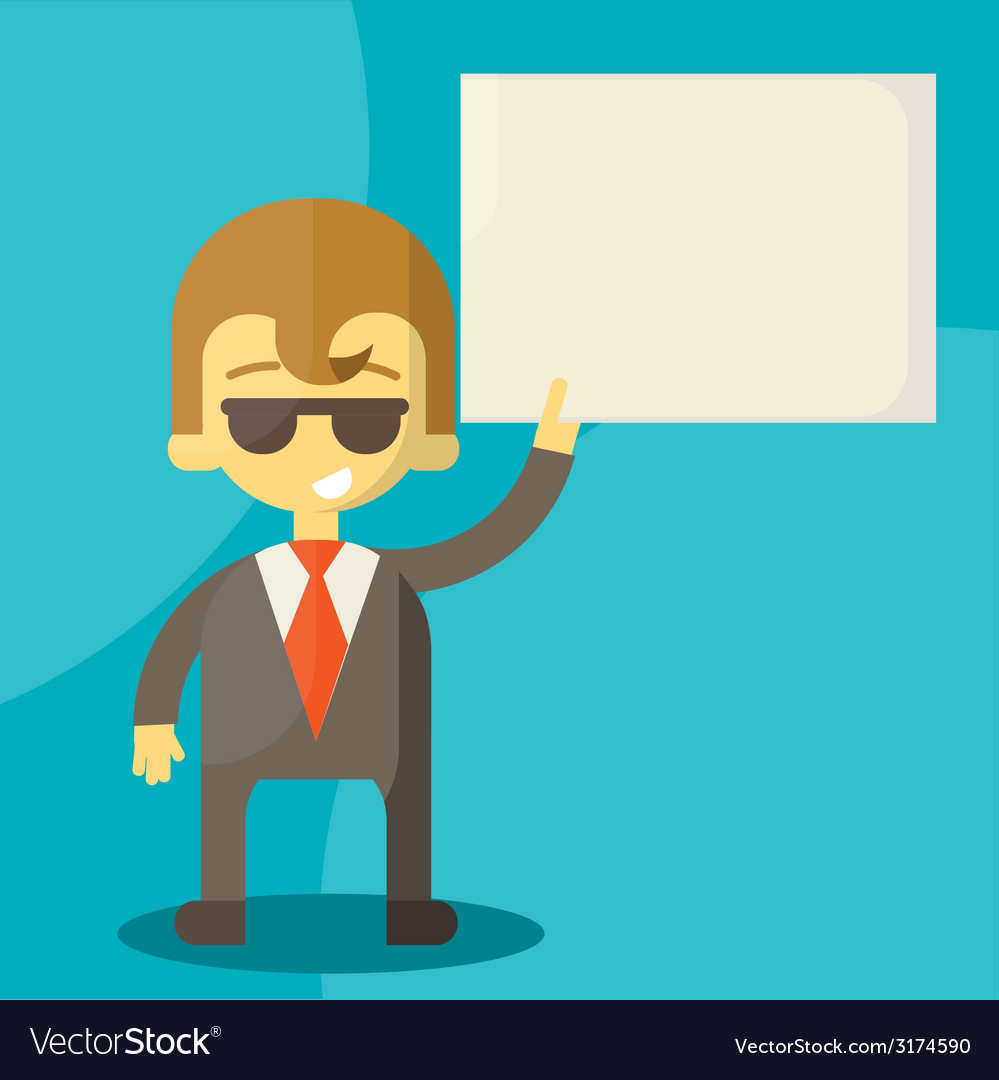 Businessman holding blank notes characters poses vector | Price: 1 Credit (USD $1)