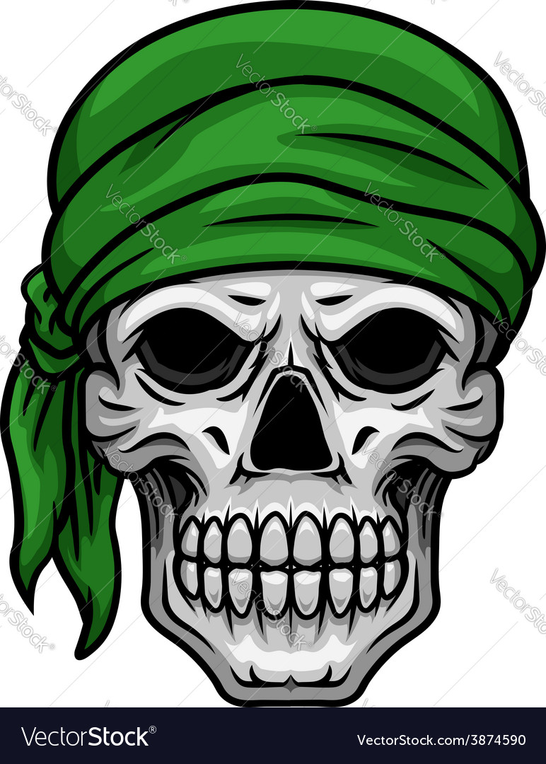 Cartoon skull in green bandana vector | Price: 1 Credit (USD $1)