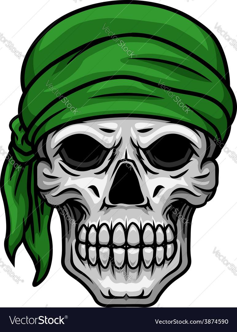 Cartoon skull in green bandana vector | Price: 1 Credit (USD $1)