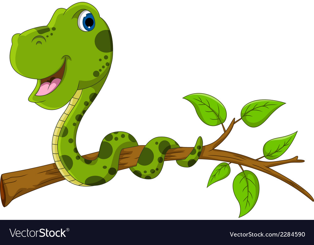 Cute green snake cartoon on tree vector | Price: 1 Credit (USD $1)