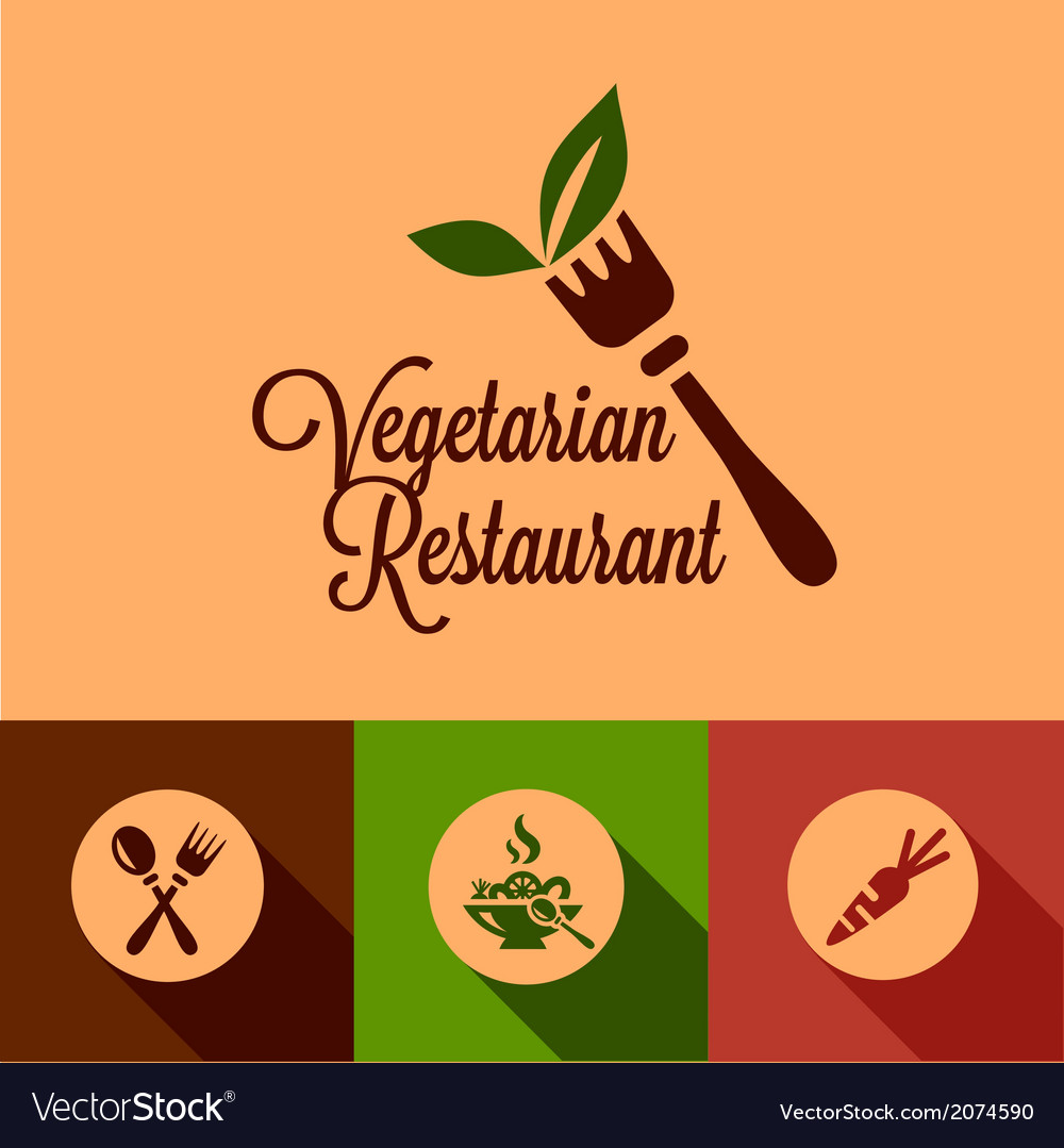 Flat vegetarian restaurant icons set vector | Price: 1 Credit (USD $1)