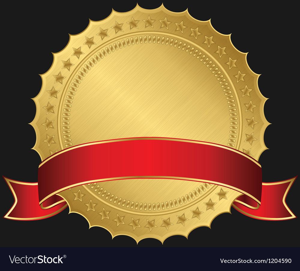 Golden blank label with red ribbon vector | Price: 1 Credit (USD $1)
