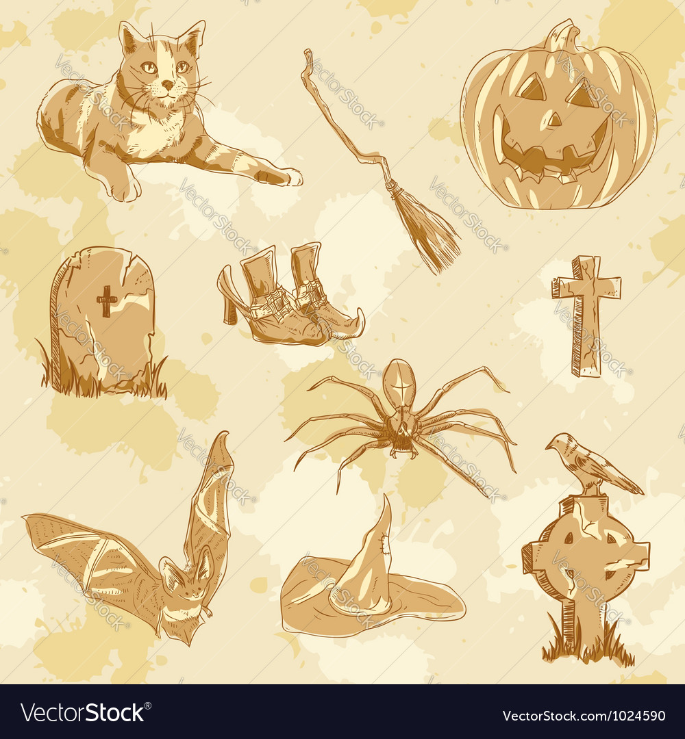 Halloween objects handdrawn vintage vector | Price: 1 Credit (USD $1)