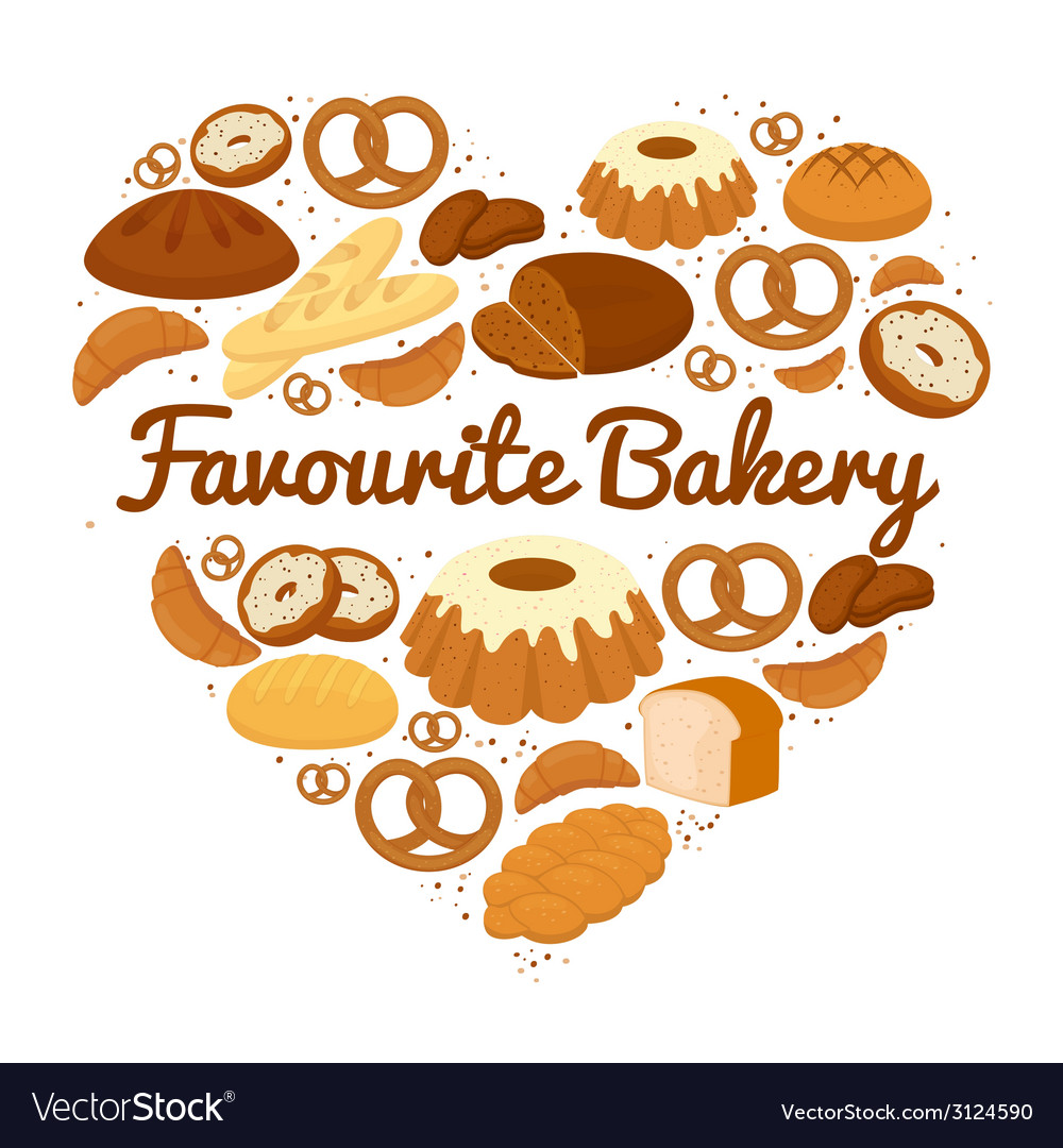 Heart shaped cakes sweets and bread badge vector | Price: 1 Credit (USD $1)