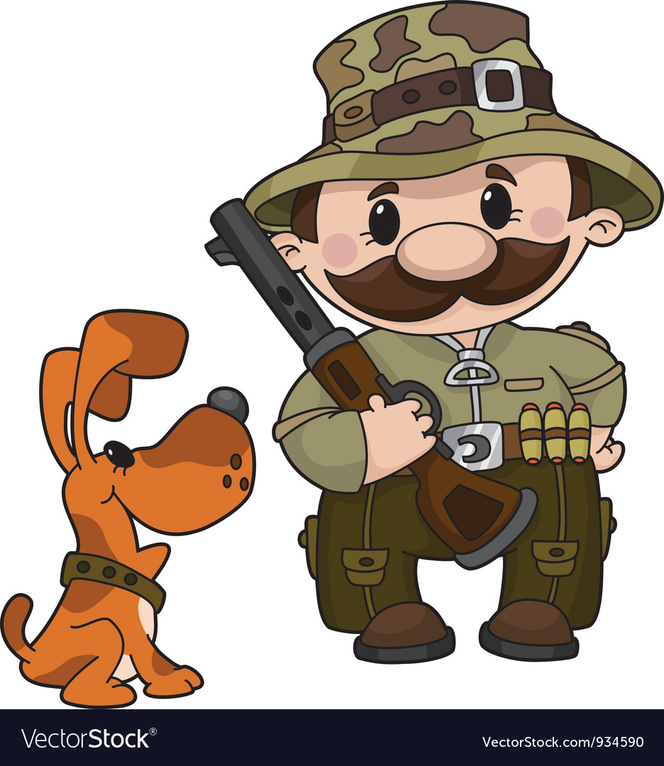 Hunter and dog vector