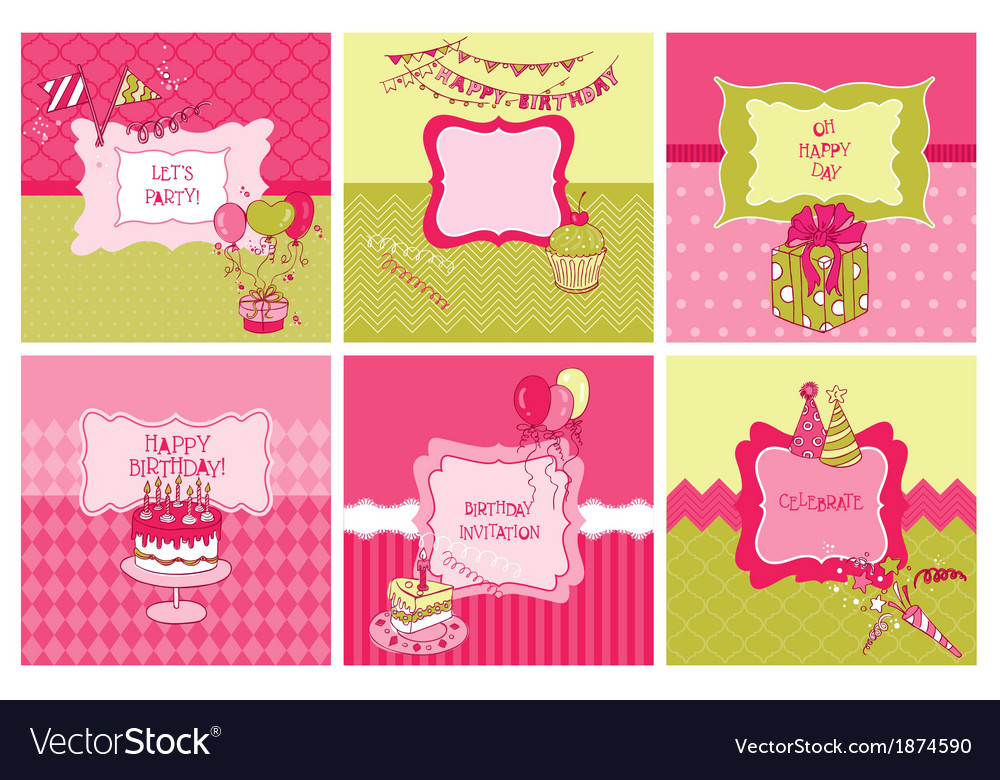 Set of cards - birthday and party theme vector | Price: 1 Credit (USD $1)