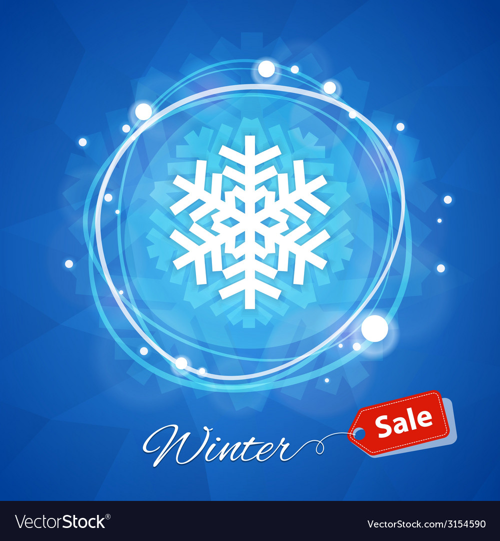 Winter sale banner with snowflake on blue vector | Price: 1 Credit (USD $1)