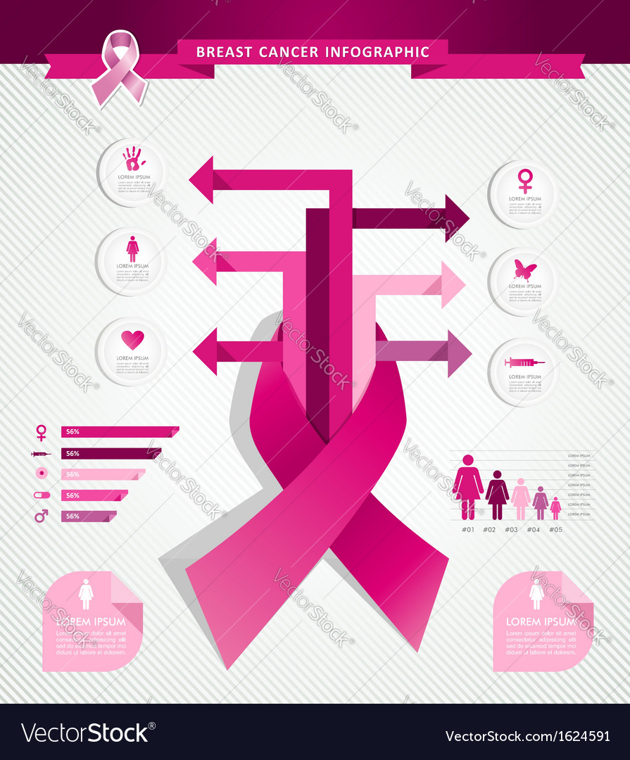 Breast cancer awareness concept infographics eps10 vector | Price: 1 Credit (USD $1)