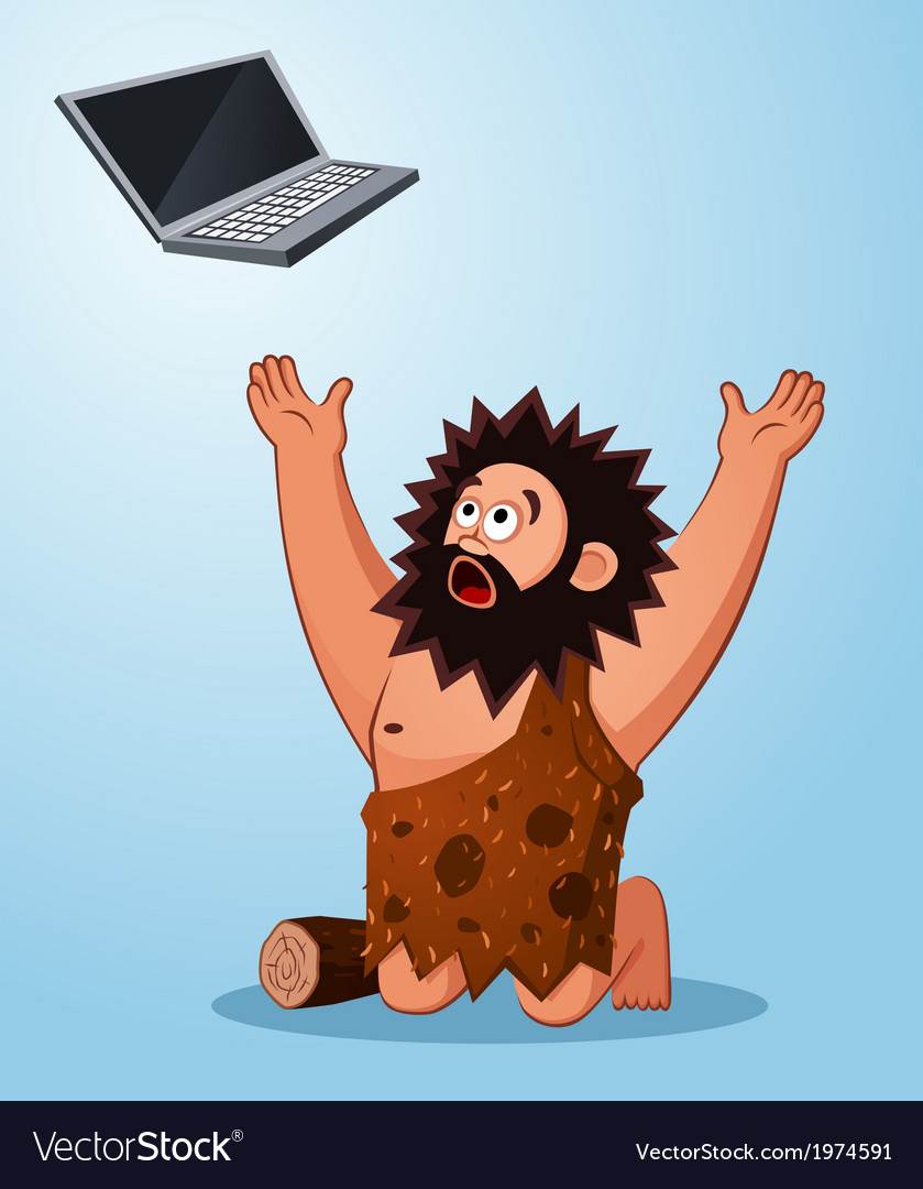 Caveman worshiping a laptop vector | Price: 1 Credit (USD $1)