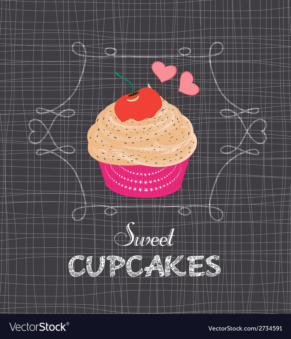 Chalkboard style poster with cupcake vector | Price: 1 Credit (USD $1)