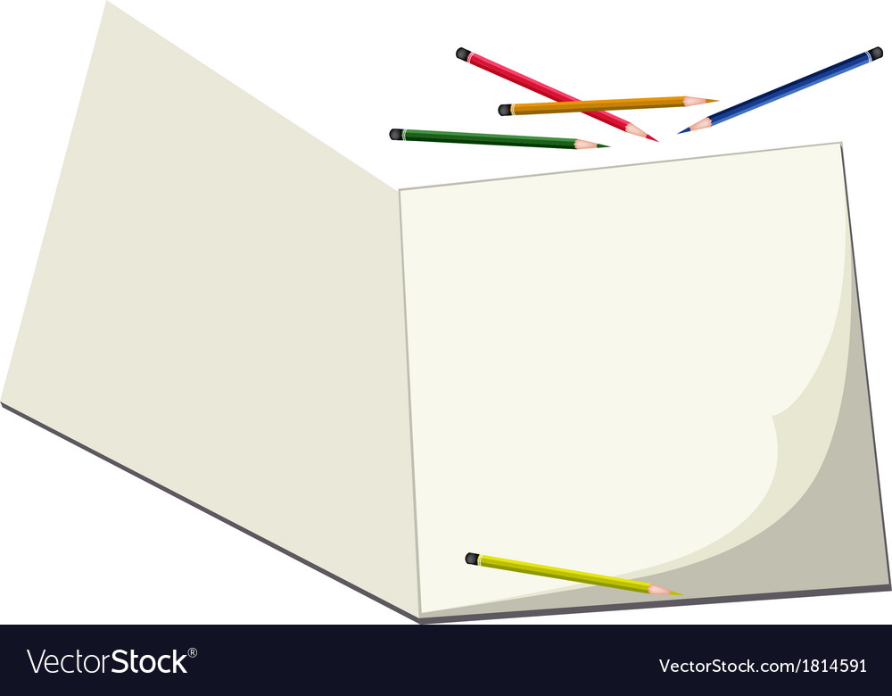 Colored pencils lying on a blank sketchbook vector | Price: 1 Credit (USD $1)