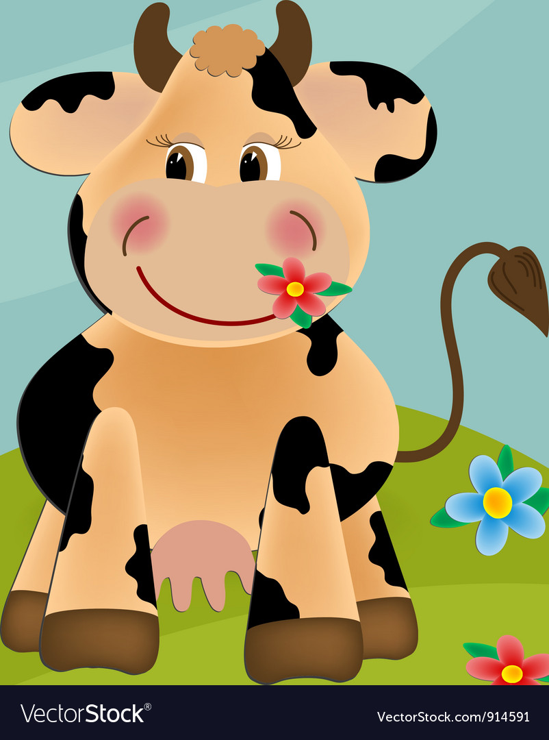 Cow grazing in the meadow vector | Price: 1 Credit (USD $1)