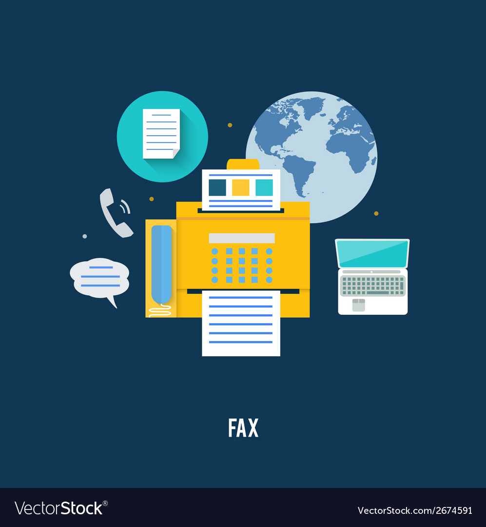 Fax icon in flat design vector | Price: 1 Credit (USD $1)