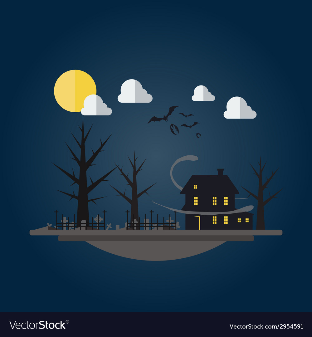 Flat design of spooky house vector | Price: 1 Credit (USD $1)