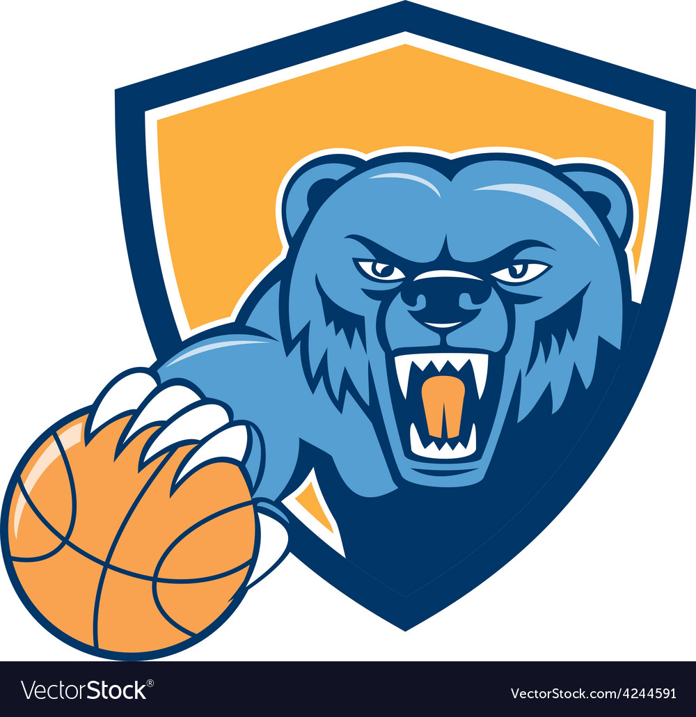 Grizzly bear angry head basketball shield cartoon vector | Price: 1 Credit (USD $1)
