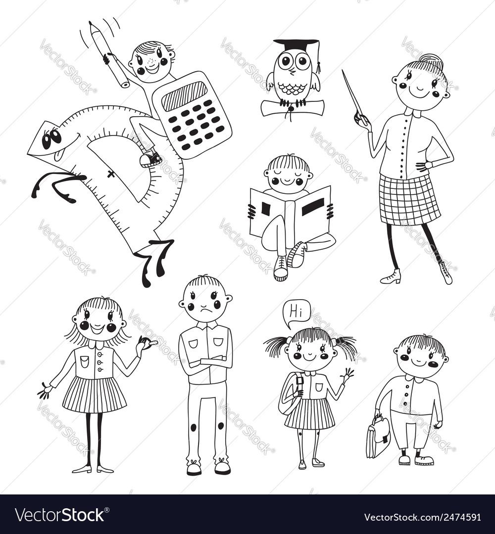 Hand drawn teacher and schoolchildren vector | Price: 1 Credit (USD $1)