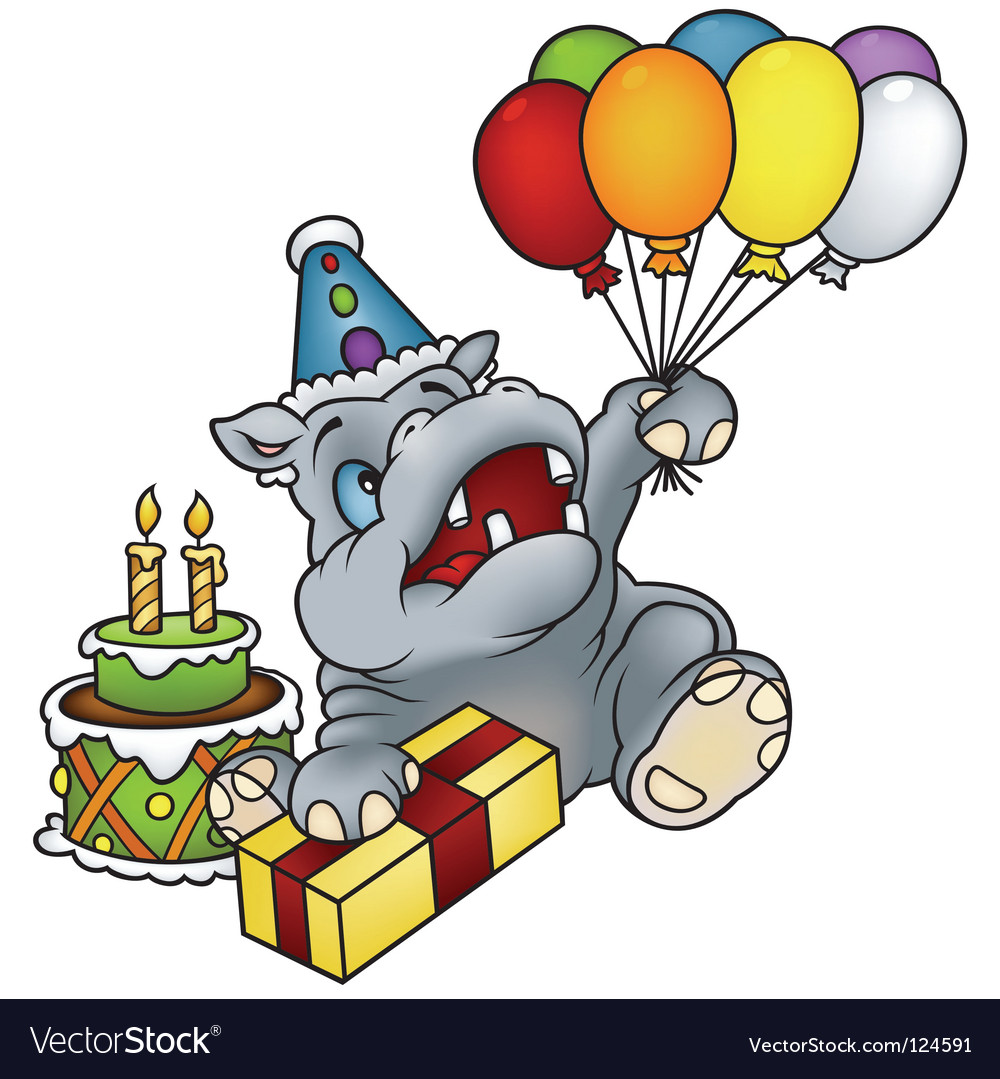 Hippo happy birthday vector | Price: 1 Credit (USD $1)