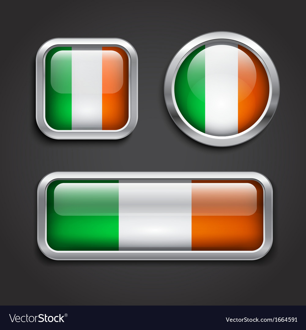 Ireland flag glass buttons vector | Price: 1 Credit (USD $1)