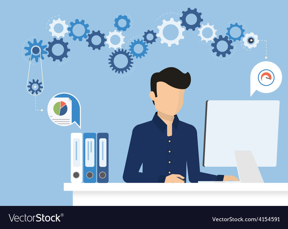 Man with computer vector | Price: 1 Credit (USD $1)