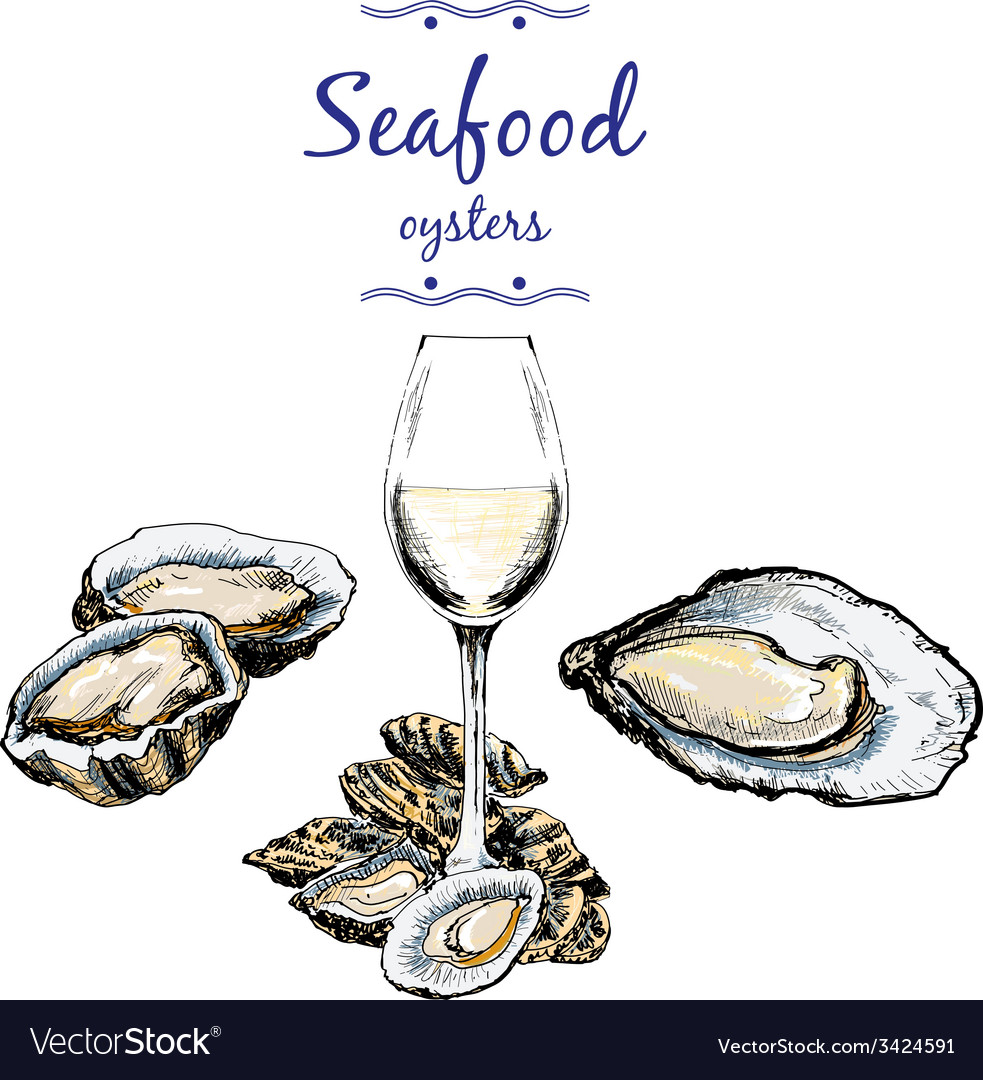 Oysters and wine glass vector | Price: 1 Credit (USD $1)
