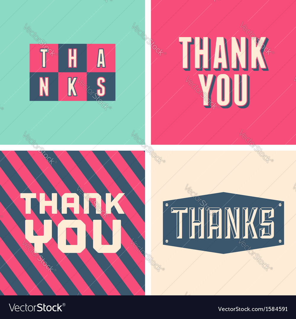 Retro design thank you greeting cards in pink vector | Price: 1 Credit (USD $1)