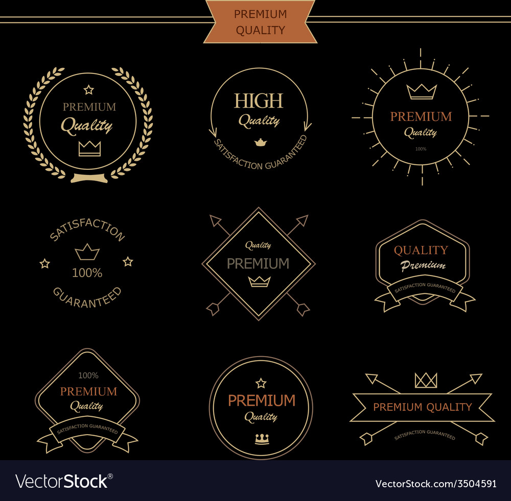 Set of premium quality vintage style elements vector | Price: 1 Credit (USD $1)