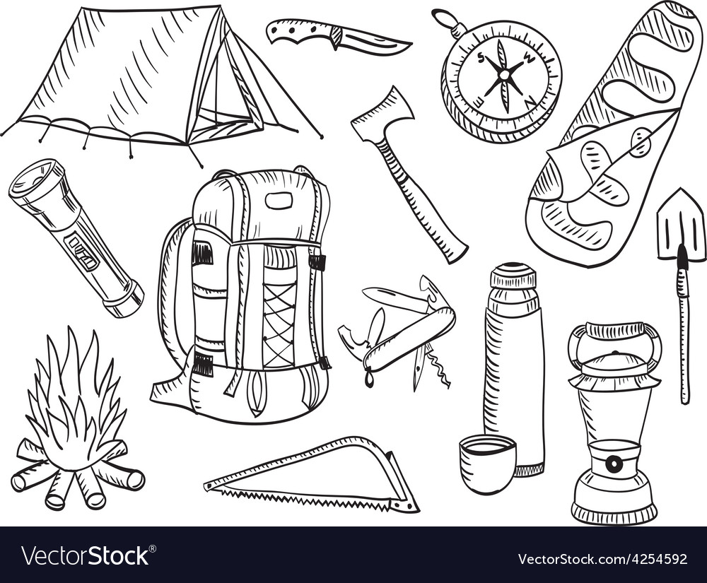 Camping set - sketch vector | Price: 1 Credit (USD $1)