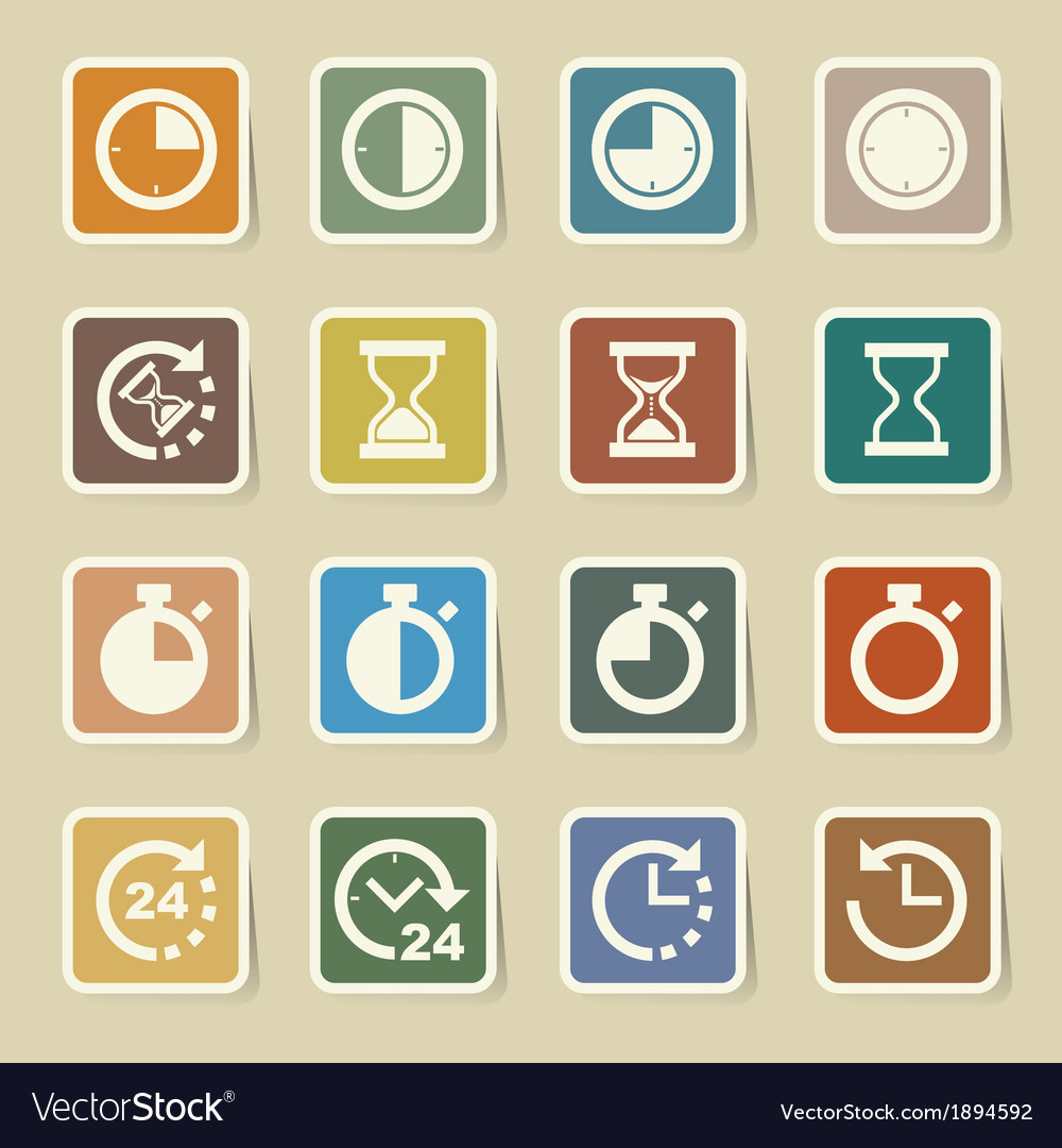 Clocks and time icons set vector | Price: 1 Credit (USD $1)