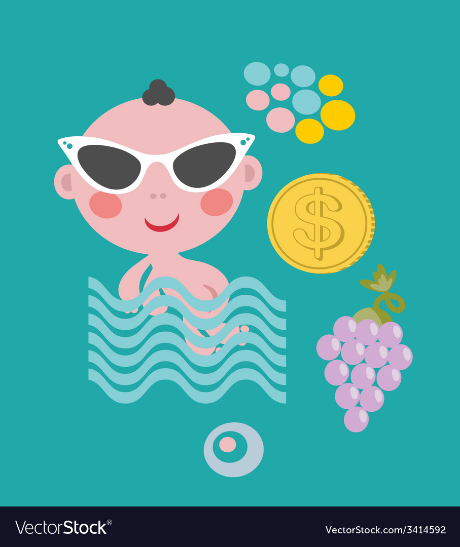 Cool baby on vacation set vector | Price: 1 Credit (USD $1)
