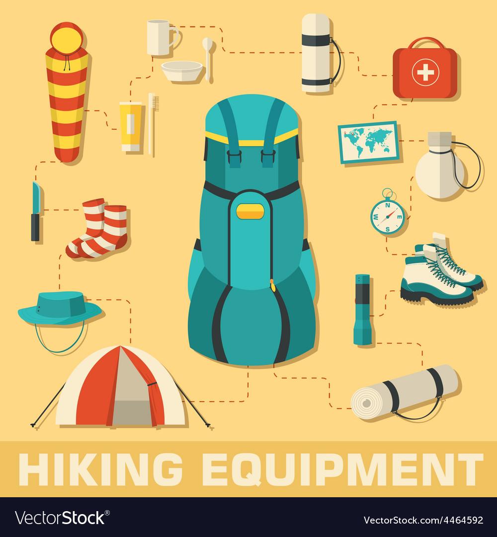 Flat colorful tourist equipment set vector | Price: 1 Credit (USD $1)