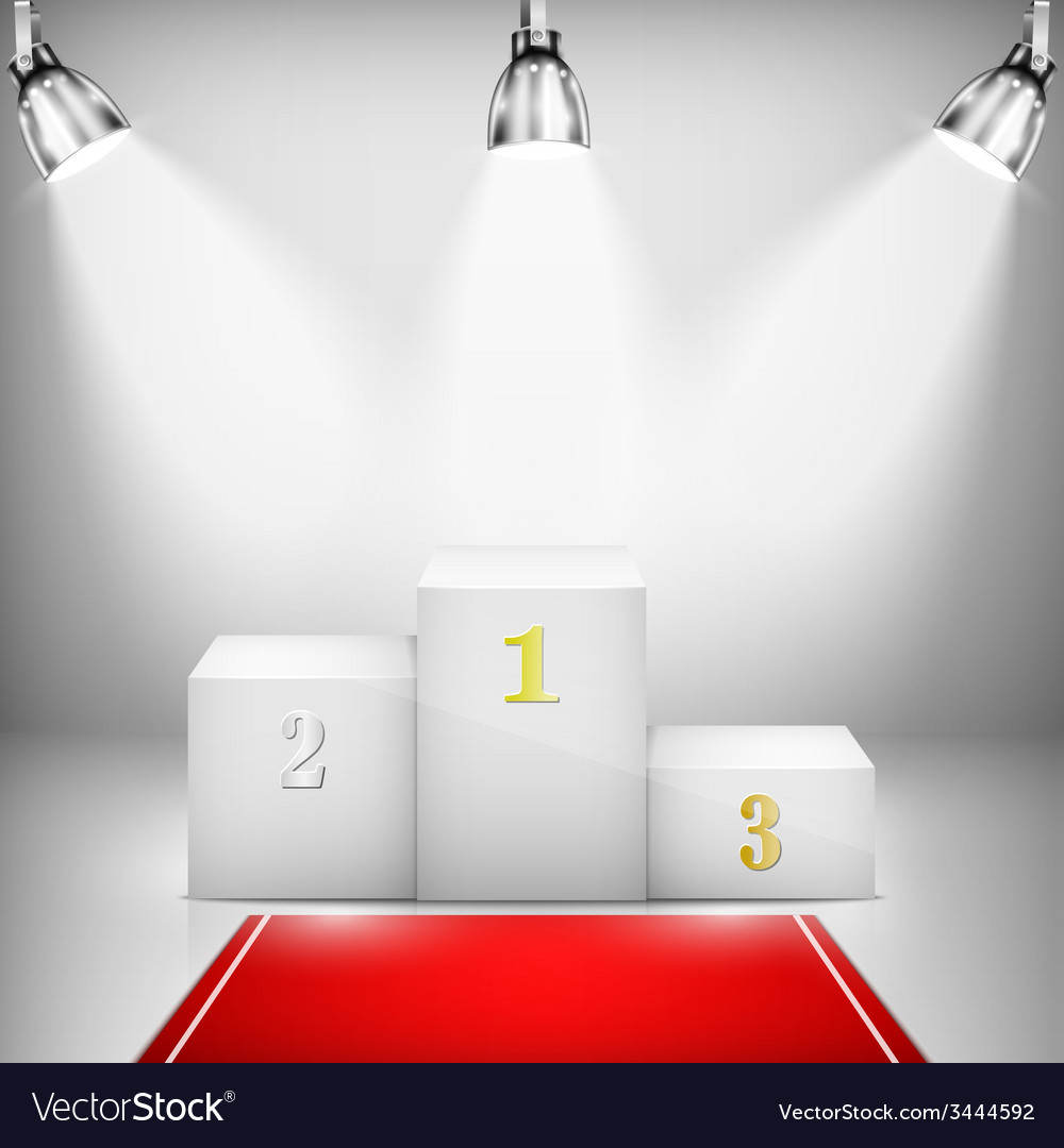 Illuminated winner pedestal with red carpet vector | Price: 1 Credit (USD $1)