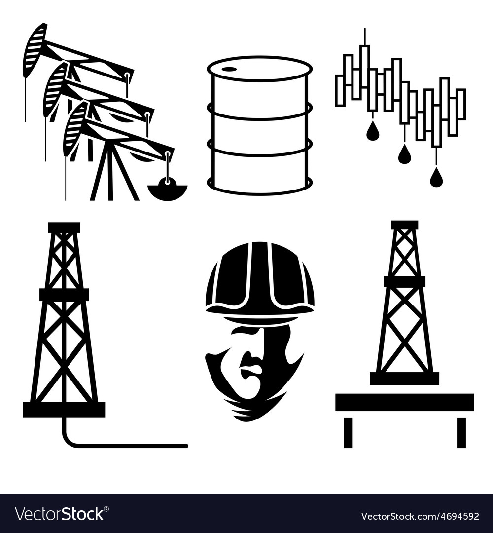 Oil industry elements and symbol of fall and rise vector | Price: 1 Credit (USD $1)