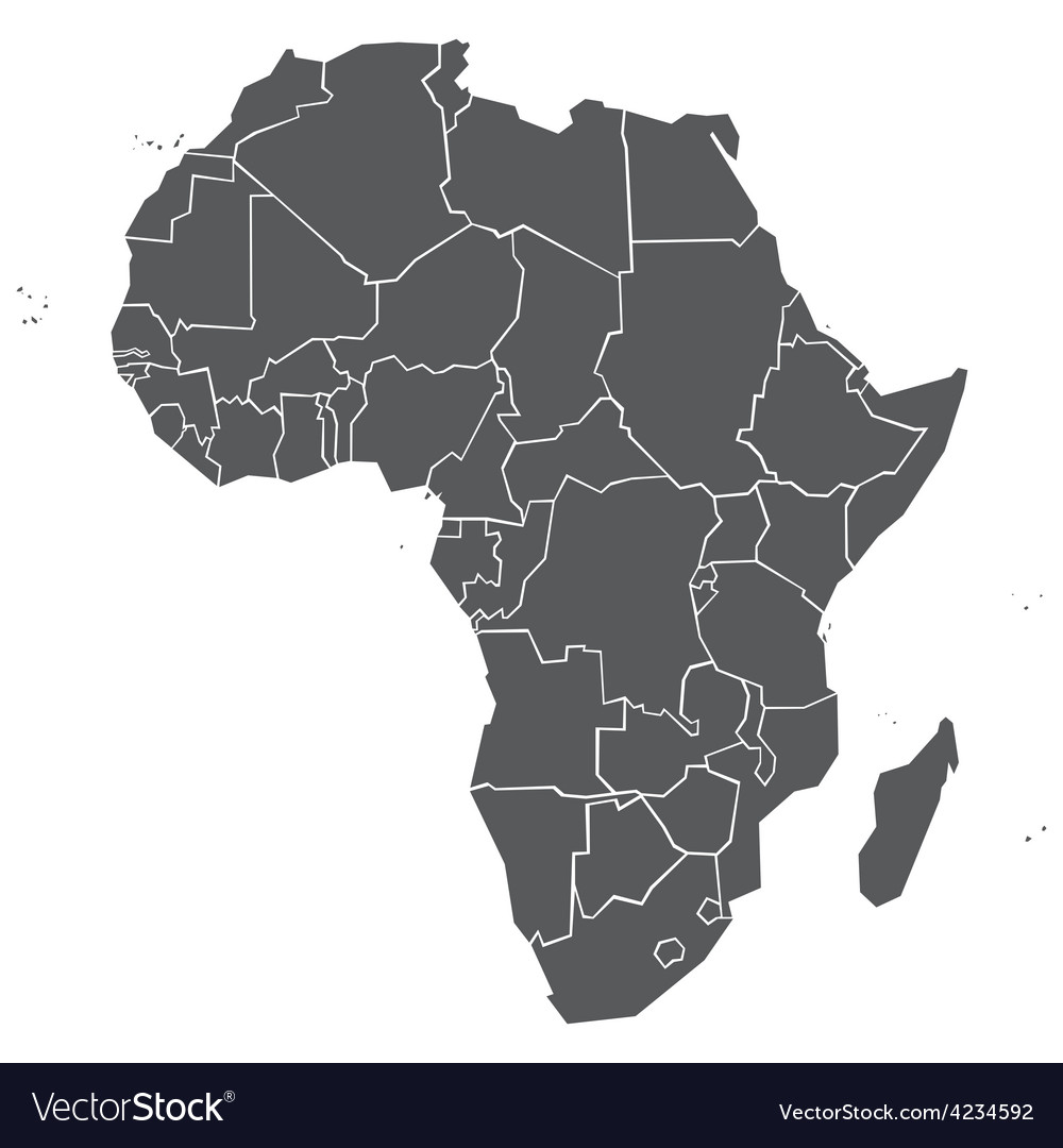 Simplified political map of africa vector | Price: 1 Credit (USD $1)