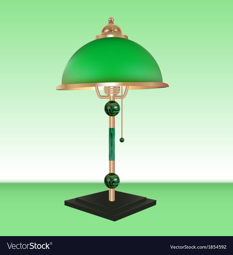 Table lamp bronze glass green vector | Price: 1 Credit (USD $1)