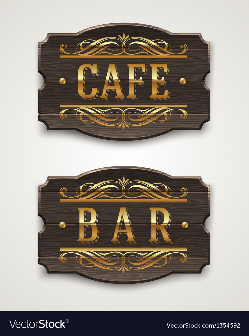 Vintage wooden signs for cafe and bar vector | Price: 1 Credit (USD $1)