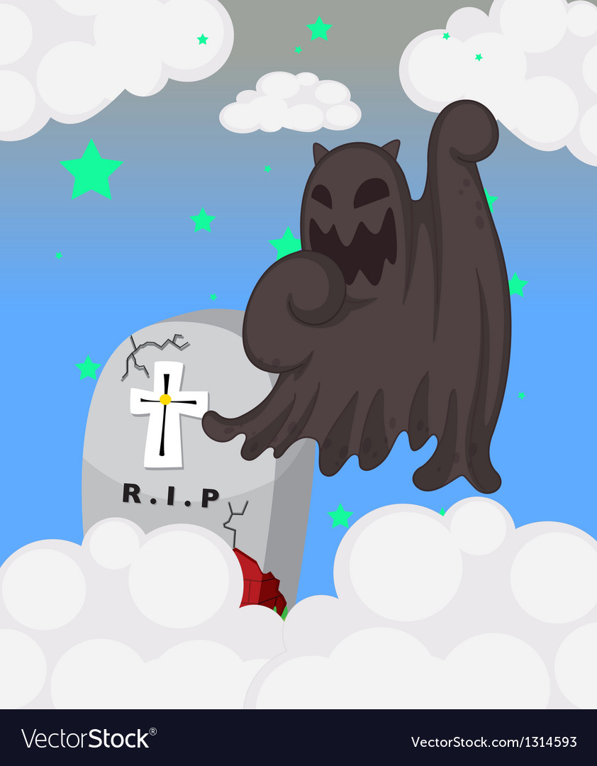 A ghost at the cemetery vector | Price: 1 Credit (USD $1)
