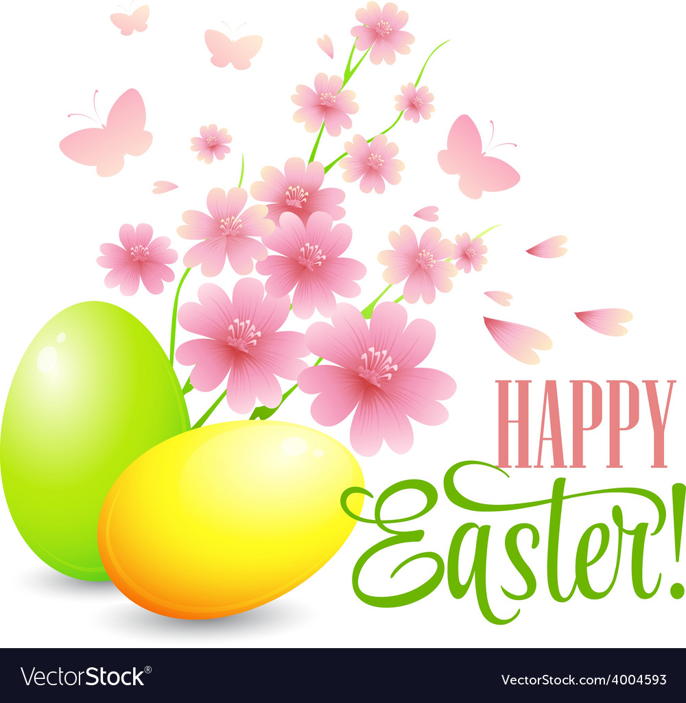 Easter card with eggs and flowers vector | Price: 1 Credit (USD $1)