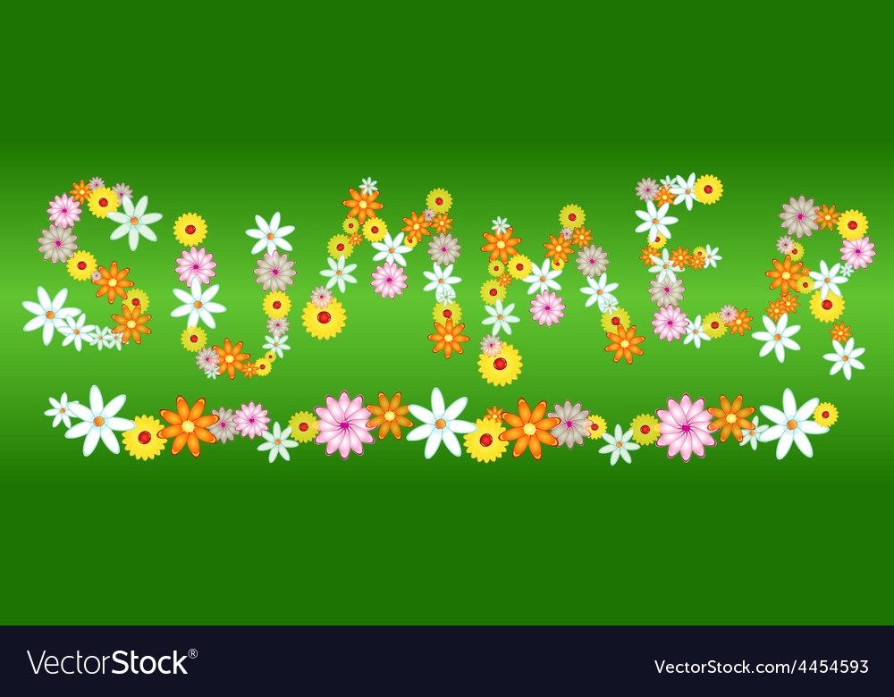 Glossy flower summer letters on green vector | Price: 1 Credit (USD $1)