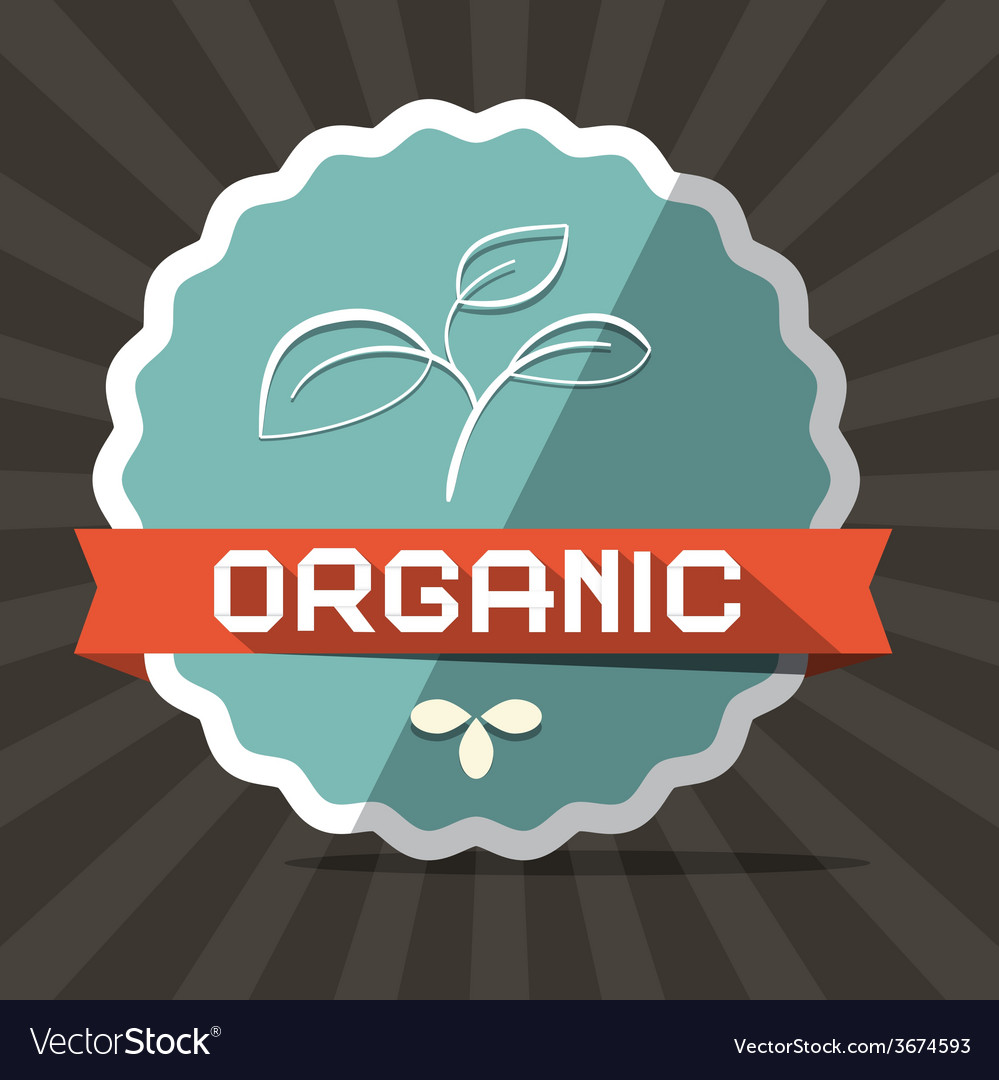 Organic blue retro label on brown background vector | Price: 1 Credit (USD $1)