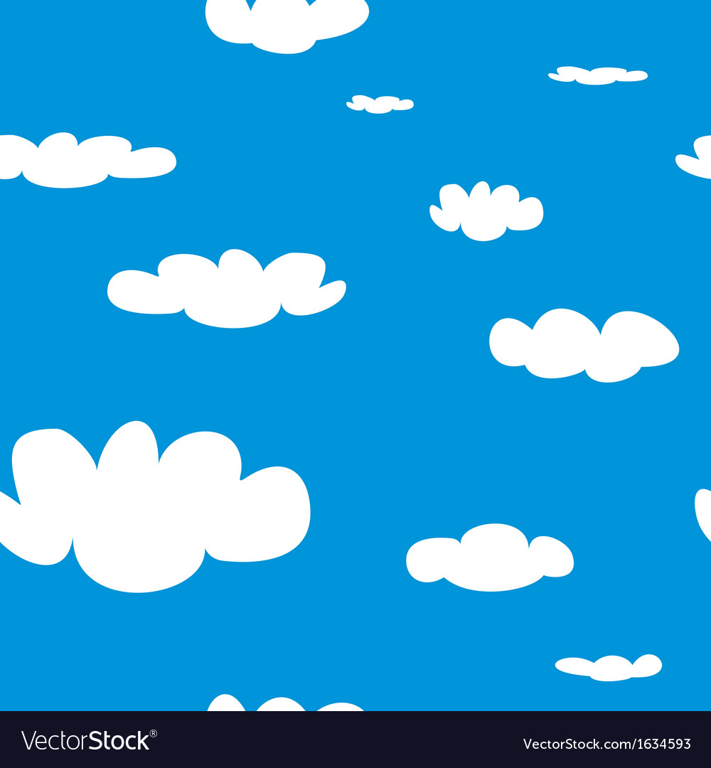 Seamless pattern with white clouds on blue sky bac vector | Price: 1 Credit (USD $1)