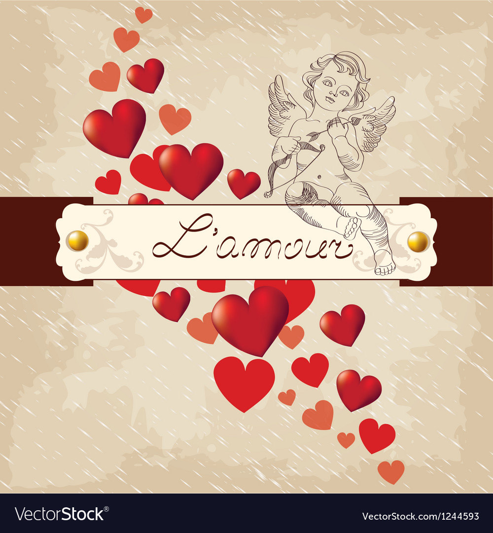 Valentines day amour with red hearts vector | Price: 1 Credit (USD $1)