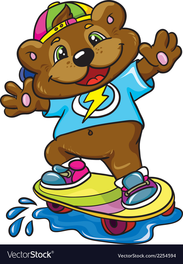 Bear skateboarder on a white background vector | Price: 1 Credit (USD $1)