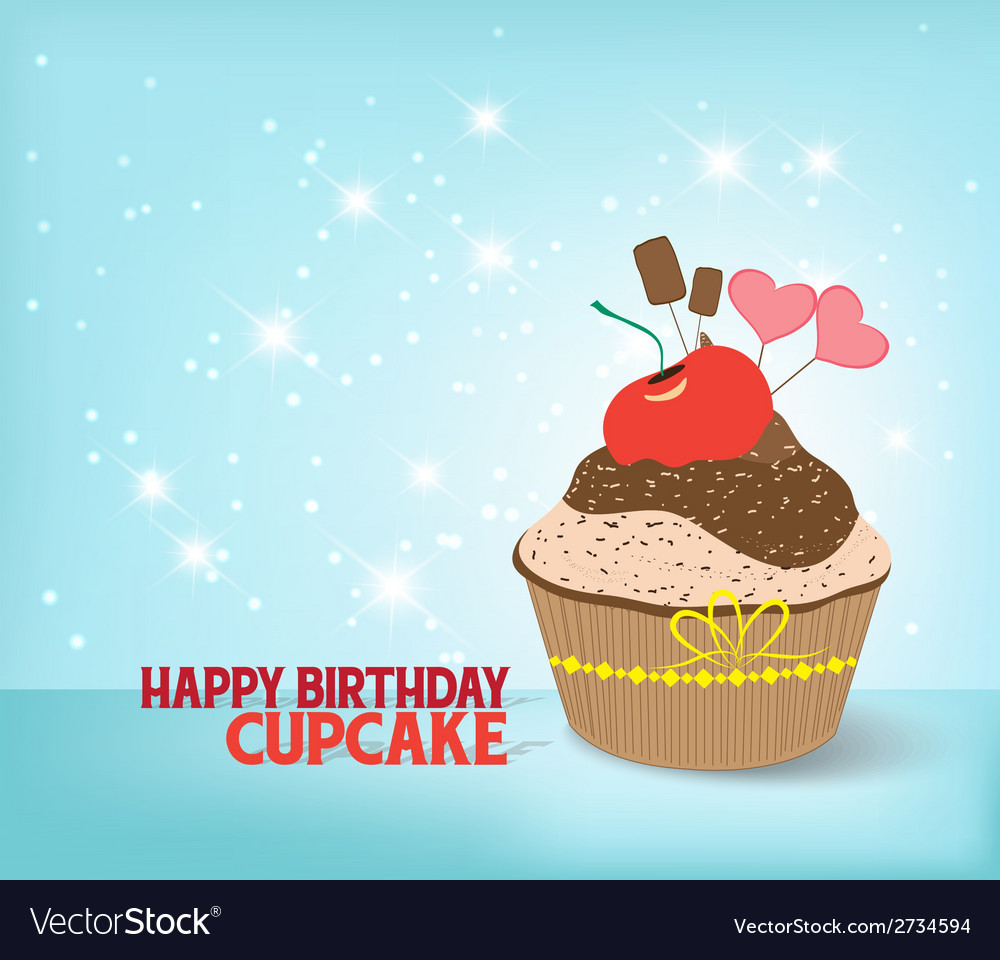 Birthday cupcake against a cyan background vector | Price: 1 Credit (USD $1)