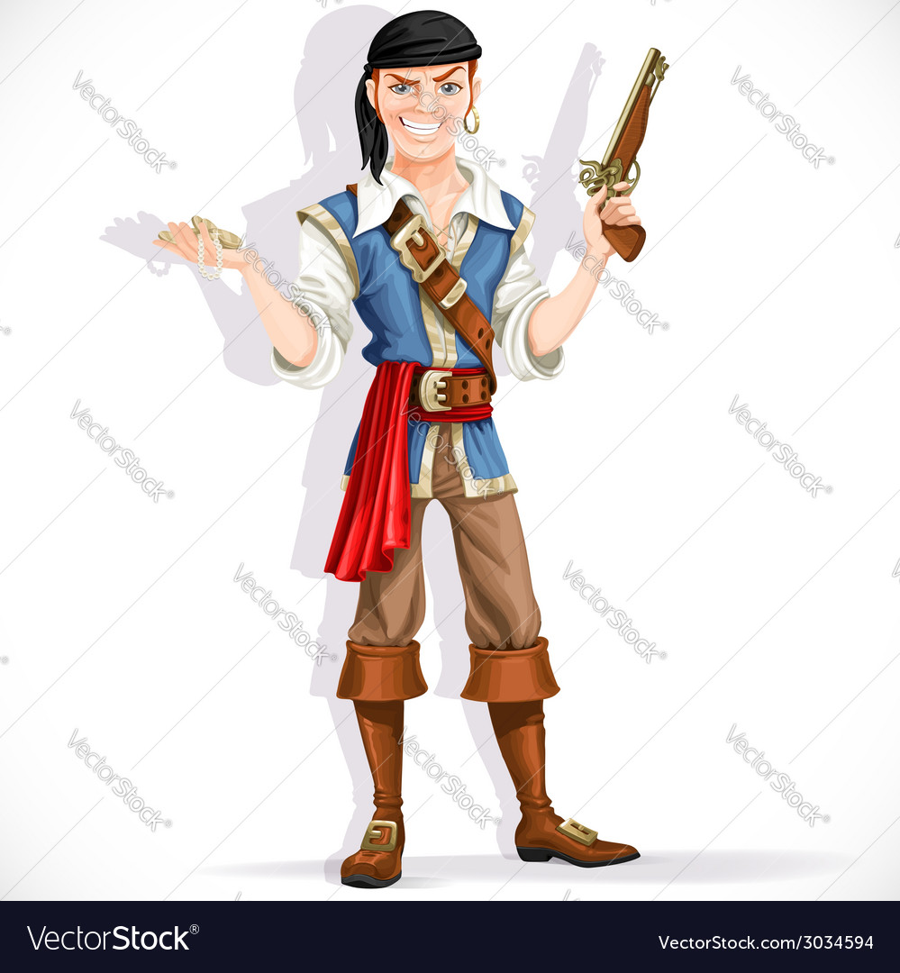 Brave pirate with pistol vector | Price: 3 Credit (USD $3)