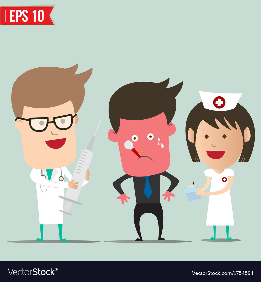 Cartoon doctor and patient - - eps10 vector | Price: 1 Credit (USD $1)