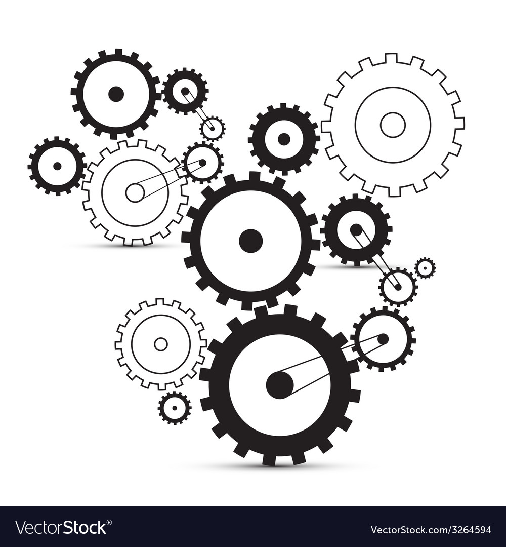 Cogs - gears on white background vector | Price: 1 Credit (USD $1)