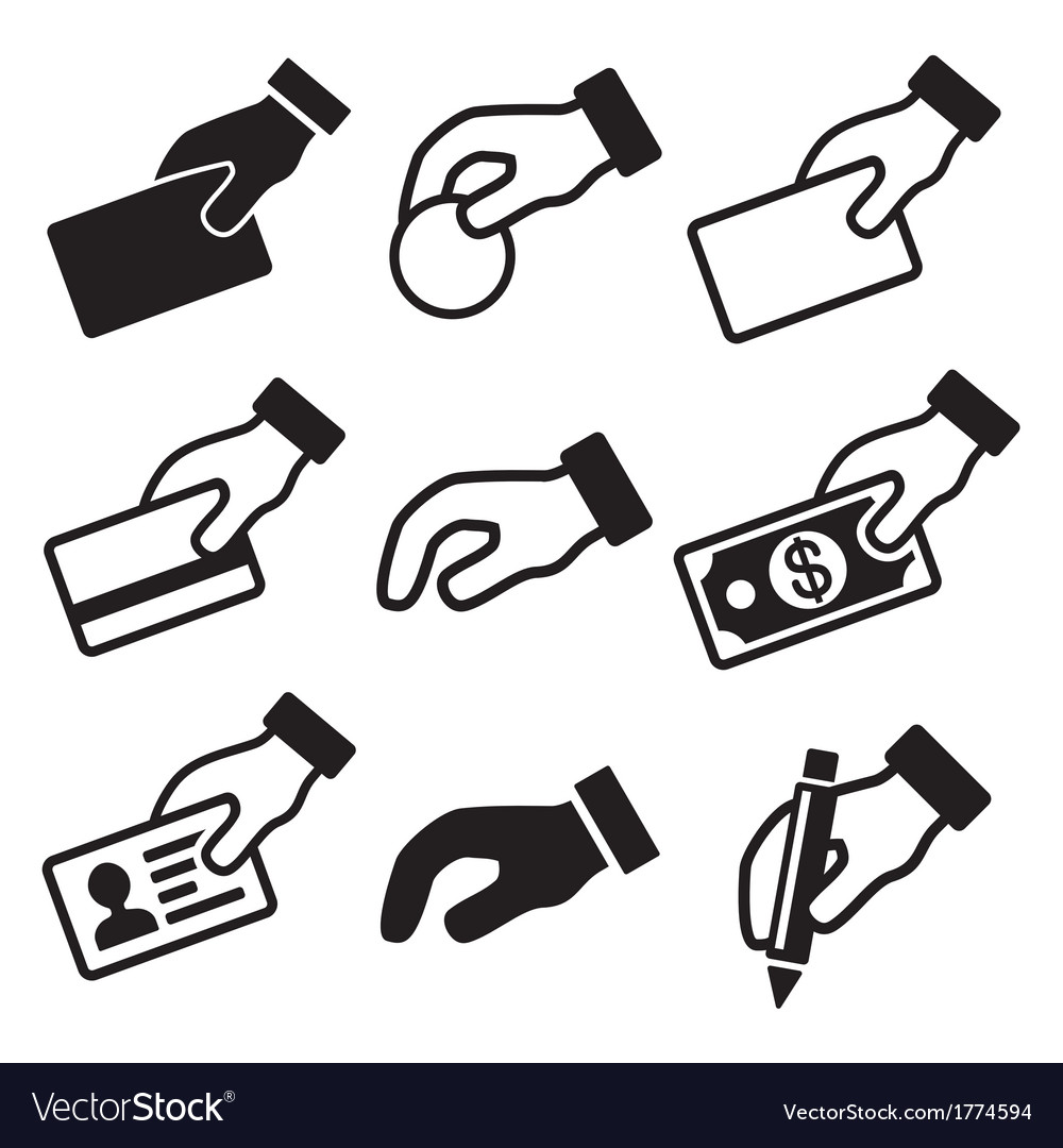 Hand with different objects icons set vector | Price: 1 Credit (USD $1)