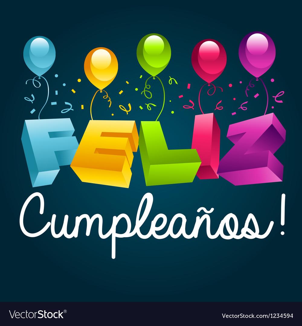 Happy birthday in spanish vector | Price: 1 Credit (USD $1)
